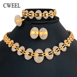CWEEL Jewelry Sets Nigerian African Beads Jewelry Set for Women Wedding Dubai Jewelry Set Gold Color Costume Jewellery Set