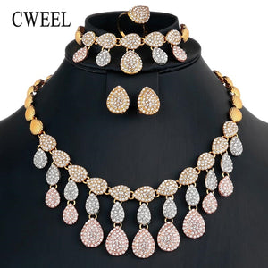 CWEEL Jewelry Sets Nigerian Wedding African Beads Jewelry Set for Women Imitation Crystal Jewelry Set Indian Dubai Jewellery Set