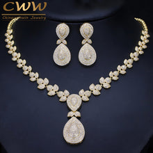 CWWZircons Noble Micro Pave Cubic Zirconia Stones Luxury Dubai Gold Color Bridal Wedding Necklace Jewelry Sets For Women T157