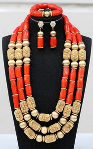 Fabulous Big Coral Beads Women Bridal Jewelry Set Nigerian Wedding Real Coral Beads Jewelry Set African Costume Jewelry CNR308