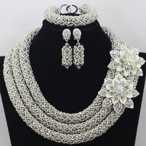 Silver African Beads Jewelry Set 2018 Nigerian Wedding African Beads for Brides Party Bridal Jewelry Set Free Shipping WB913