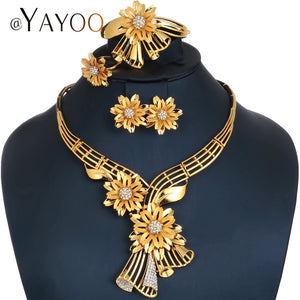 AYAYOO Jewelry Sets Women African Beads Jewelry Set in Gold Color Wedding Indian Jewellery Earrings Luxury Dubai Jewelry Sets