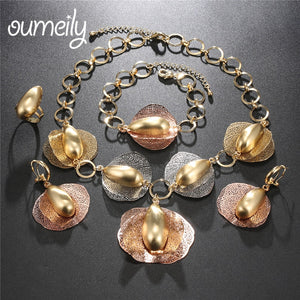 OUMEILY Jewelry Sets For Women Nigerian Wedding African Beads Vintage Plant Turkish Costume Bridal Indian Statement Jewelry Set