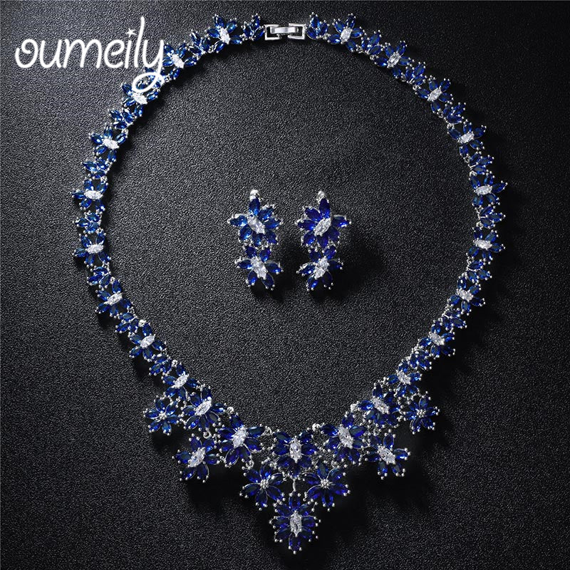oumeily jewelry sets bridal jewellery sets for women zircon necklaces