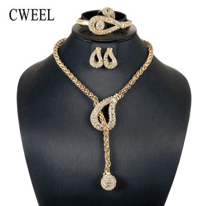 CWEEL Jewelry Sets For Women Bridesmaid Ball Pendant African Beads Jewelry Set Gold Color Ball Ethiopian Wedding Jewellery