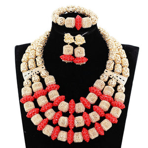 Red Coral Jewelry Sets for Women Fantastic Red and Gold Nigerian Wedding Gift Coral Bead Necklace Earrings Set for Brides CNR174