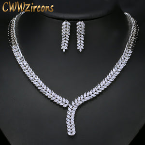 CWWZircons Gorgeous White Gold Color African Nigerian Design Fashion Bridal Wedding CZ Crystal Jewelry Set For Women T035
