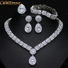 CWWZircons 4 Piece Super Sparkling Cubic Zirconia Stone Fashion African Nigerian Women Wedding Jewelry Set For Brides T054