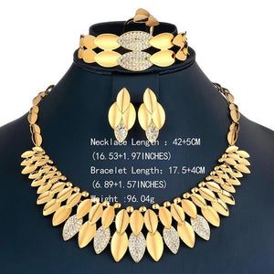 AYAYOO Jewelry Sets Big Nigerian African Beads Jewelry Set for Women Wedding Gold Color Jewelry Sets Bridal Jewelery Costume