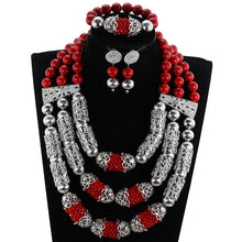Exclusive Silver African Beads Jewelry Set 2017 Nigerian Wedding Flower Clusters Statement Necklace Set Free Shipping WE014