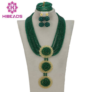 2017 Handmade Peacock Army Green Nigerian Beads Jewelry Set Fashion Crystal Pendant Necklace Set Free Shipping GS365