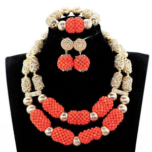 Luxury Dubai Gold Bold Statement Necklace Jewelry Set Red African Beads Wedding Nigerian Costume Jewellery Set WE182