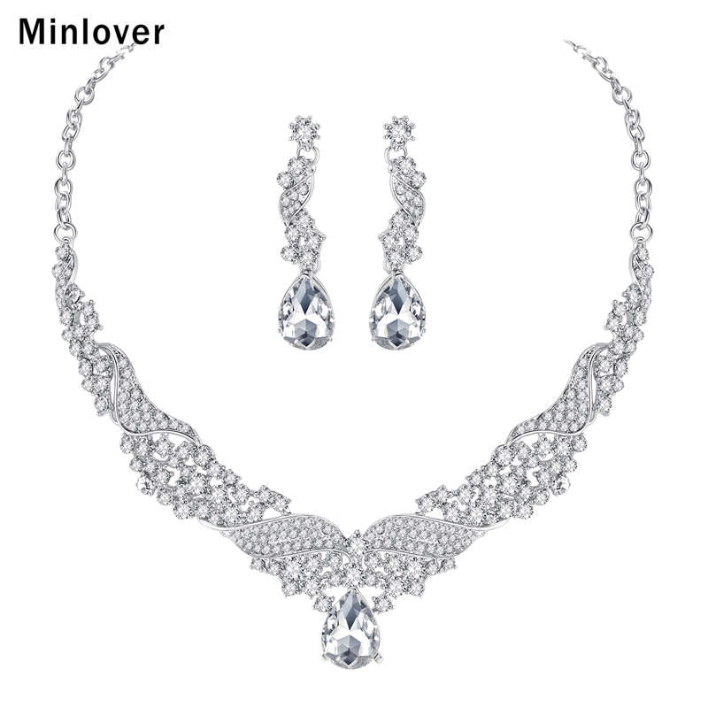 Minlover Crystal Bridal Jewelry Sets Water Drop Earrings Necklace for Women Silver-color Rhinestone Wedding Jewelry TL006