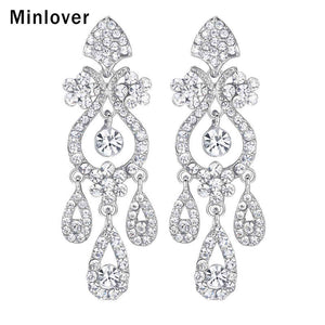 Minlover Crystal Chandelier Long Drop Earrings for Silver Color Teardrop Rhinestone Bridal Dangle Earrings Wedding Jewelry EH001