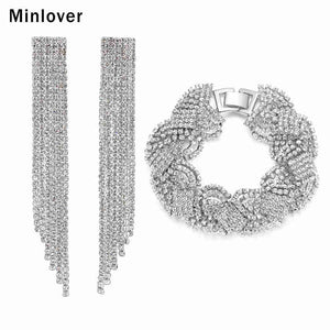 Minlover Silver Color Rhinestone Tassel Bridal Jewelry Sets Earrings and Bracelet Sets Women Wedding Accessories SL076+EH424