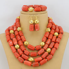 Fashion Nigerian Wedding African Coral Beads New Women Jewelry Set Cream White Coral Beaded Jewelry Free Shipping CNR384