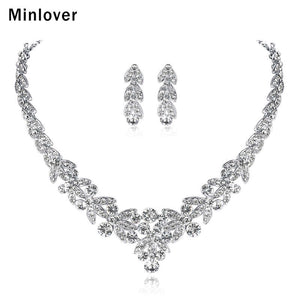 Minlover Luxurious Silver Color Crystal Bridal Jewelry Sets Leaf Shape Choker Necklace Earrings Wedding Jewelry for Women TL206