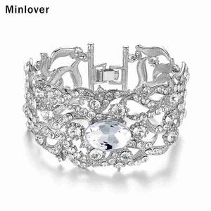 Minlover Silver Color Gold Color Crystal Wedding Bracelet&Bangle for Women Rhinestone 2018 Fashion Jewelry SL093