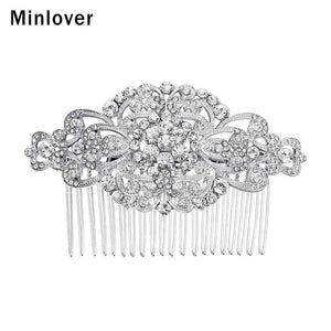 Minlover Plant Sweet Wedding Hair Accessories Crystal Bridal Hair Comb for Women Silver Color Hair Jewelry Engagement FS069