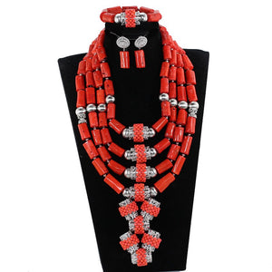 Luxury 4 Layers Nigerian Real Coral Beads Jewelry Sets Coral and Silver Bridal Statement Necklace Set 2018 CNR271
