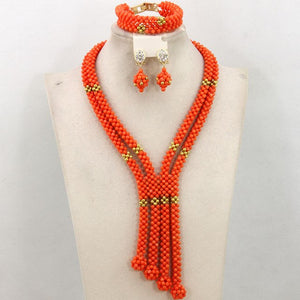 Splendid Flower African Coral Beads Jewelry Sets Latest Nigerian Beads Wedding Fashion Jewelry Set Free Shipping CNR495