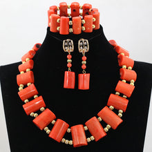 Excellent Nigerian Brides Coral Beads Jewelry Set Women Costume Necklace Pendant Jewelry for Wedding Free Shipping CNR563
