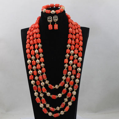 Splendid 4 Layers Nigerian Coral Beads Necklace Jewelry 25inches Long Necklace Coral Bridal Jewellery Set Free Shipping CNR636