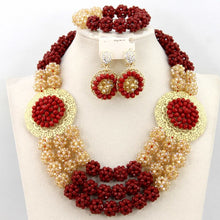 Amazing Red Crystal Beads Balls African Jewelry Sets Traditional Nigerian Wedding Jewelry Set for Brides Free Shipping WA694