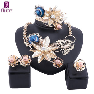 Dubai Suit Jewellery Flower Type Gold Color Crystal Jewelry Set Nigerian Wedding African Beads Ethiopian Bridal Accessories