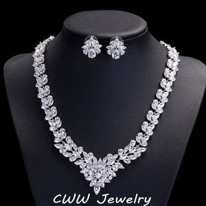 CWWZircons High Quality African Cubic Zirconia Wedding Jewelry Sets Long Crystal Bridal Necklace And Earring Set For Brides T117