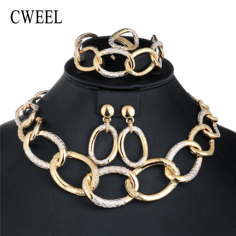 CWEEL Jewelry Sets For Brides African Beads Jewelry Set Women Dubai Wedding Fashion Costume Jewellery Choker Necklace Set