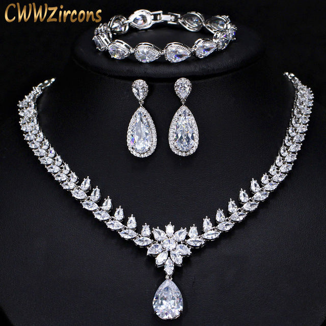 CWWZircons Elegant Women Wedding Jewellery African CZ Crystal Leaf Drop Bridal Necklace Bracelet And Earrings Jewelry Sets T294