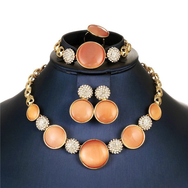 AYAYOO Wedding Jewelry Sets For Women Gold Color African Beads Jewelry Set Bridal Statement Necklace Set Dubai Jewellery