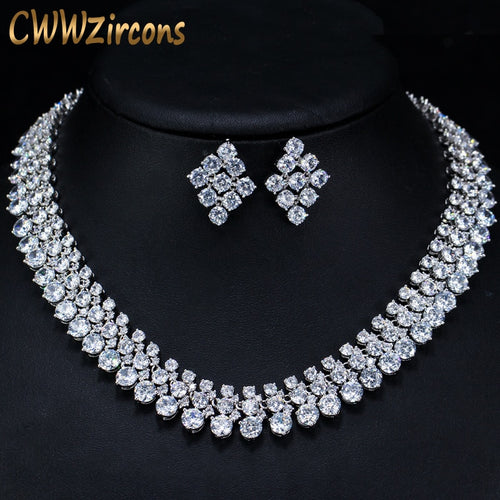 CWWZircons Luxury 2018 Nigerian Wedding Accessories African CZ Beads Jewelry Sets Crystal Bridal Necklace For Brides T111