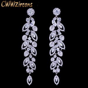 CWWZircons Luxury CZ Bridal Jewelry Gorgeous Top Quality Cubic Zirconia Pave Long Dangle Wedding Earrings For Brides CZ396