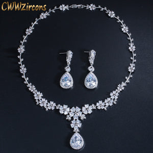 CWWZircons Luxury African Women Wedding Party Costume Jewelry Long Drop Flower Bridal CZ Earring Necklaces Sets For Brides T177