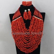 Nigerian Wedding African Coral Beads Jewelry Set Red Coral Beads Necklace Set Genuine Coral Beads Jewelry Free Shipping CNR326
