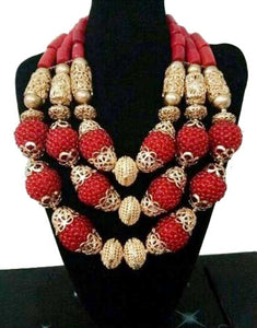 Delicate Dubai Gold Beads Statement Necklace Set Nigerian African Wedding Women Party Jewelry Set WE183