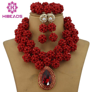 Amazing Sharp Red African Costume Jewelry Set Indian Bridal Jewelry Set Nigerian Wedding Beads Free Shipping GS145