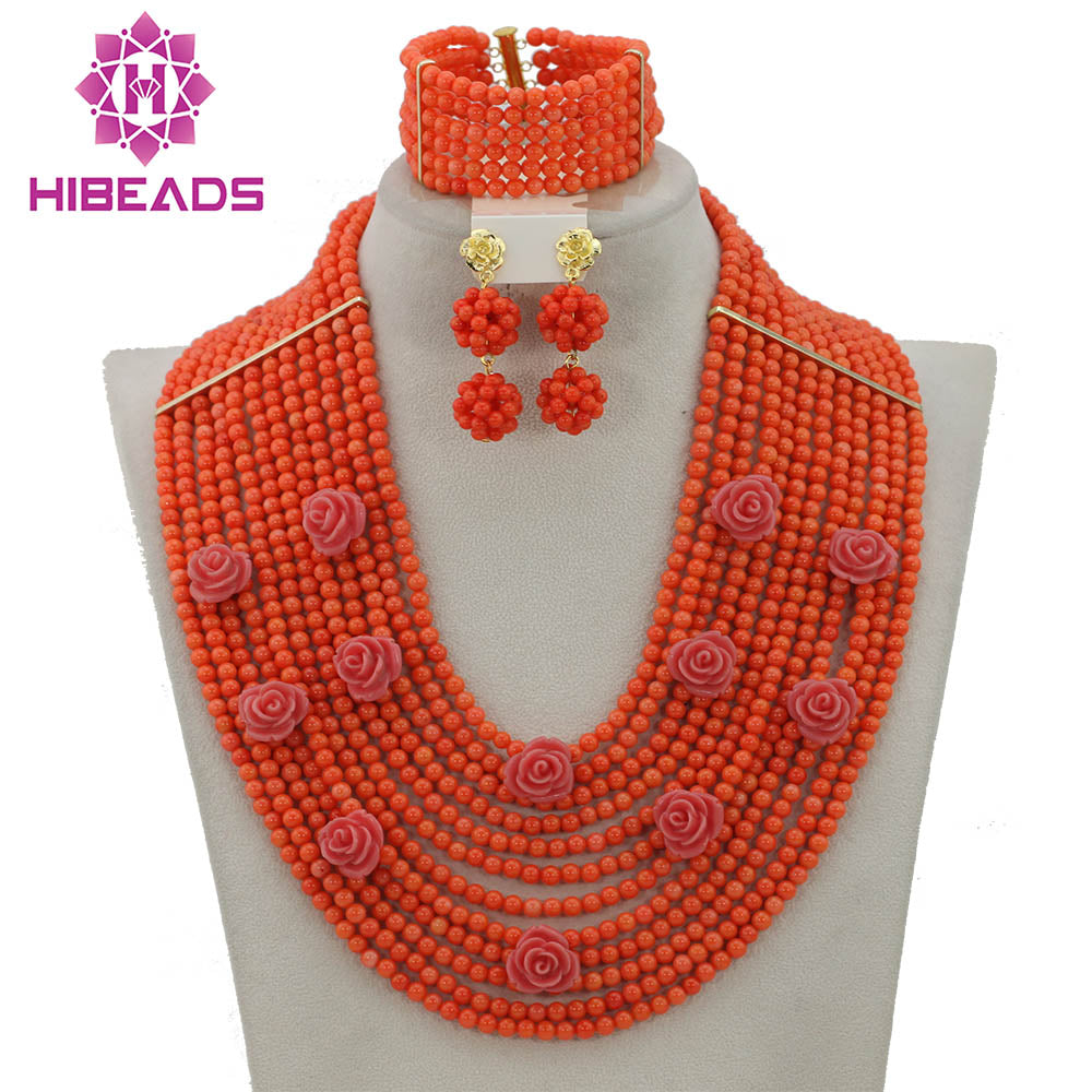 Marvelous African Pink Coral Beads Jewelry Set Pretty Flowers Handmade Nigerian Wedding Coral Jewelry Set Free Shipping CNR318