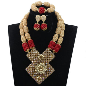 Elegant Champagne Gold Nigerian African Wedding Beads Jewelry Sets Party Occassion Women Jewelry Sets Flower Free Shipping WE056
