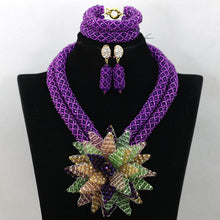 Exclusive Purple/Yellow Wedding Flower Nigerian African Beads Jewelry Set 2017 Costume Women Jewelry Set Free Shipping WA677