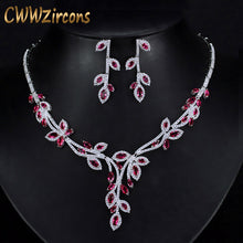 CWWZircons Luxury Dangling Drop Rose Red Cubic Zirconia Party Jewery Nigerian African Big Wedding Necklace Sets For Brides T245