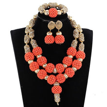 Amazing Red and Silver African Beads Jewelry Set Chunky Bib Bridal Coral Costume Women Jewelry Set for Nigerian Wedding WE192