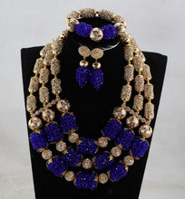 New Royal Blue and Gold Crystal Costume Jewelry Set Blue Nigerian African Wedding Beads Jewelry Set for Women WE205