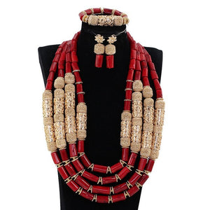 Amazing Real Big Coral Beads African Wedding Jewelry Set Nigerian Women Costume Bridal Coral Gold Statement Necklace Set CNR873
