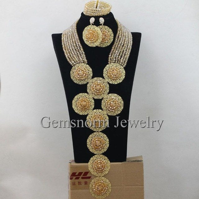 2017 Luxury Champagne Gold Nigerian African Wedding Beads Jewelry Set Crystal Costume Necklace Set Free Shipping WA012