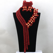 Gold Seed Bead Flower Handmade Crystal Necklace Red Floral Nigerian Wedding African Beads Jewelry Set Free Shipping WD321