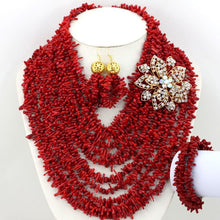 Fashion Broken Beads Coral Pendant Necklace Set African Coral Jewelry Set for Nigerian Wedding Free Shipping CNR699