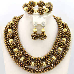 Fabulous Champagne Gold Pendant Statement Necklace Set Nigerian African Wedding Beads Jewelry Set Crystal Free Shipping WD331